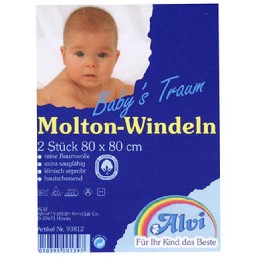 ALVI Molton Luierdoeken 80/80 Voordeelpak 2 stuks voor 4,49(93812)