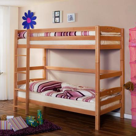 TICAA Dvouposchoďová postel OLIVER R buk přírodní - extra vysoká