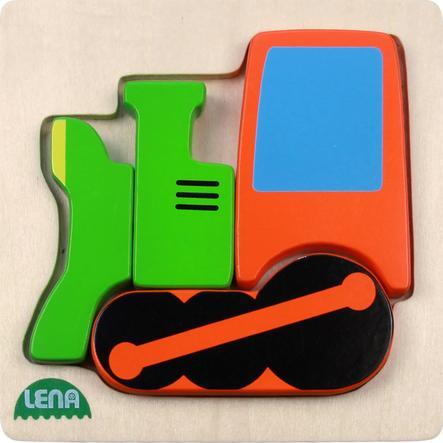LENA Dřevěné puzzle, lokomotiva, 4 díly