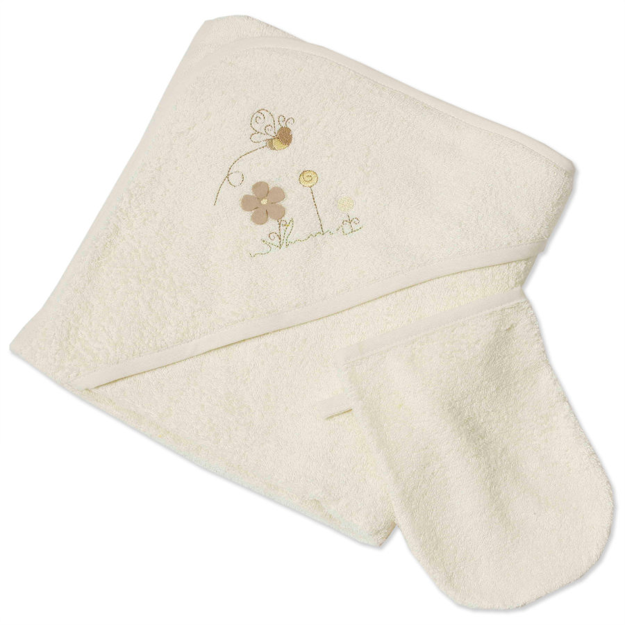 Easy Baby Set éponge cape de bain 100x100 avec gant de toilette Honey Bear (360-79)