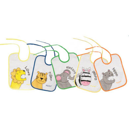 PLAYSHOES Lot de 5 bavoirs, Animaux