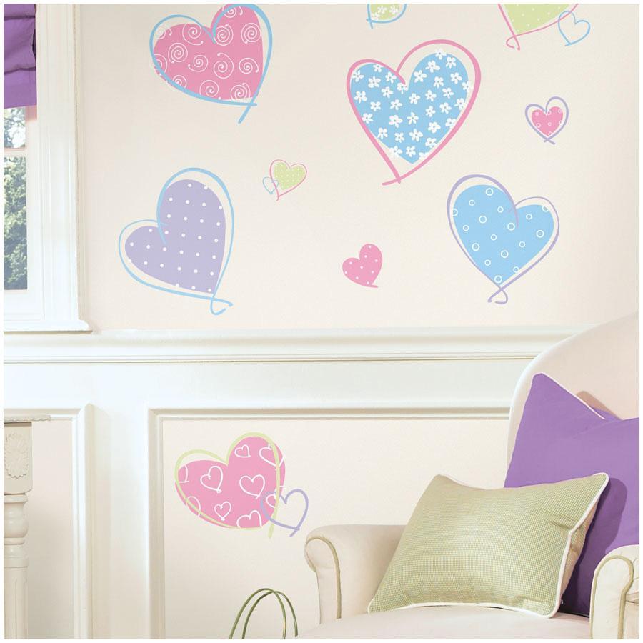 Nalepky na zeď ROOMMATES Pastel Hearts