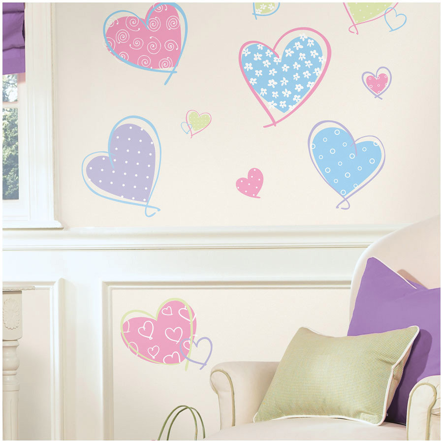 ROOMMATES Autocollant mural Pastel Hearts