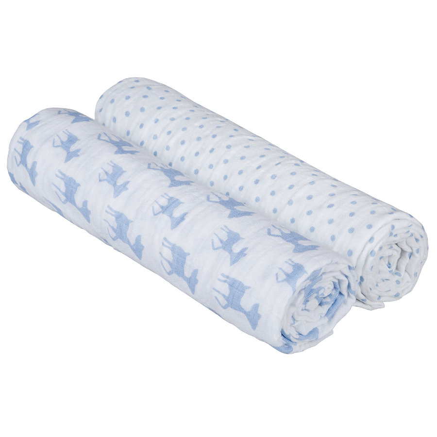 LÄSSIG Swaddle & Burp Lela Filt XL - light blue