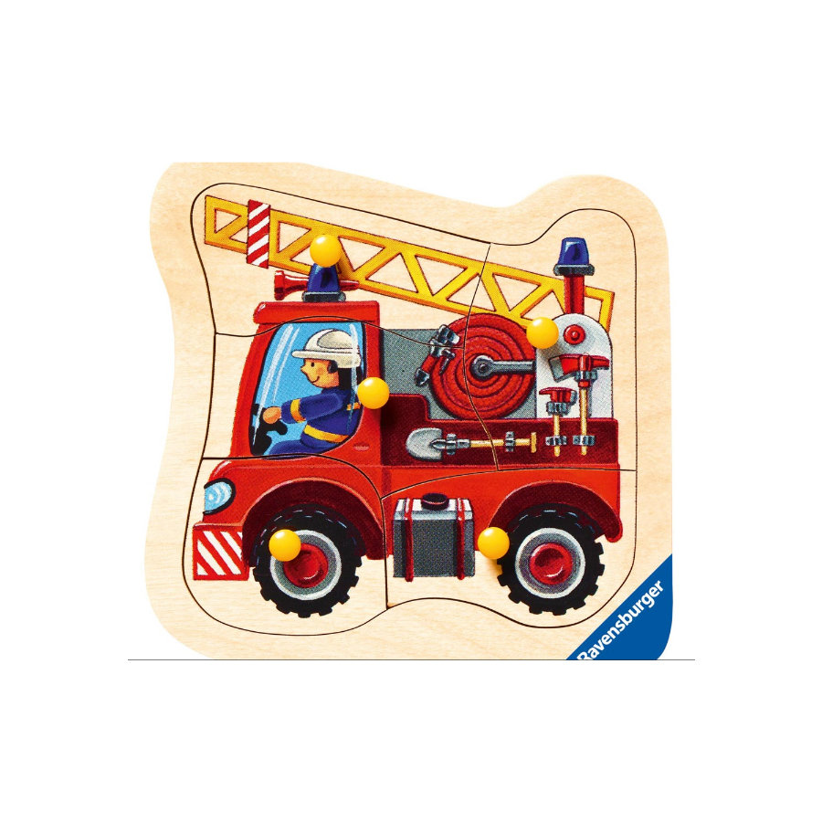 RAVENSBURGER Drewniane puzzle Wóz strażacki 5 elementów 03664