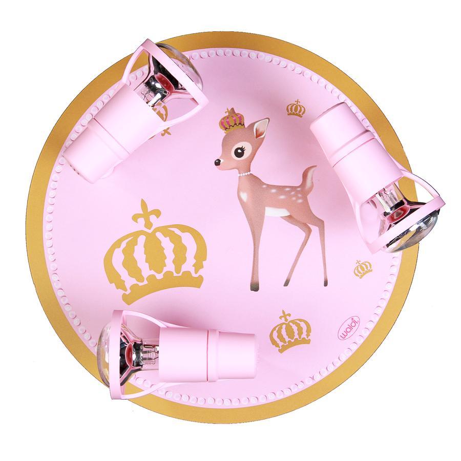 WALDI Loftslampe rådyr pink-guld 3-flg.