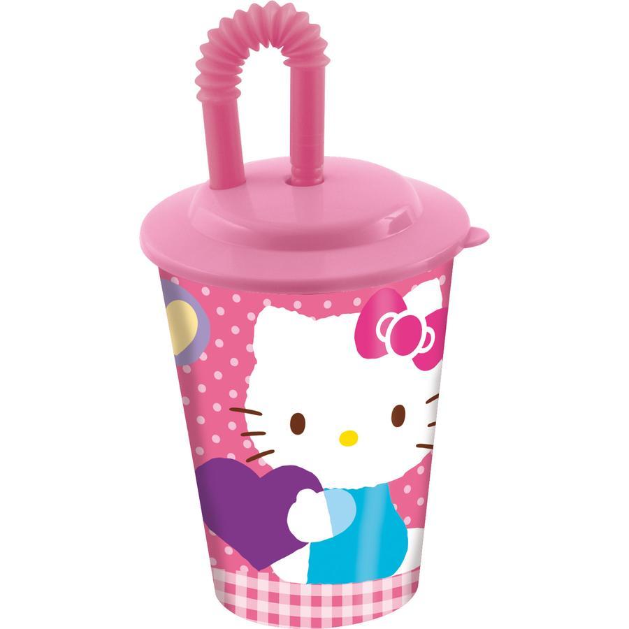 P:OS Trinkbecher mit Strohhalm - Hello Kitty