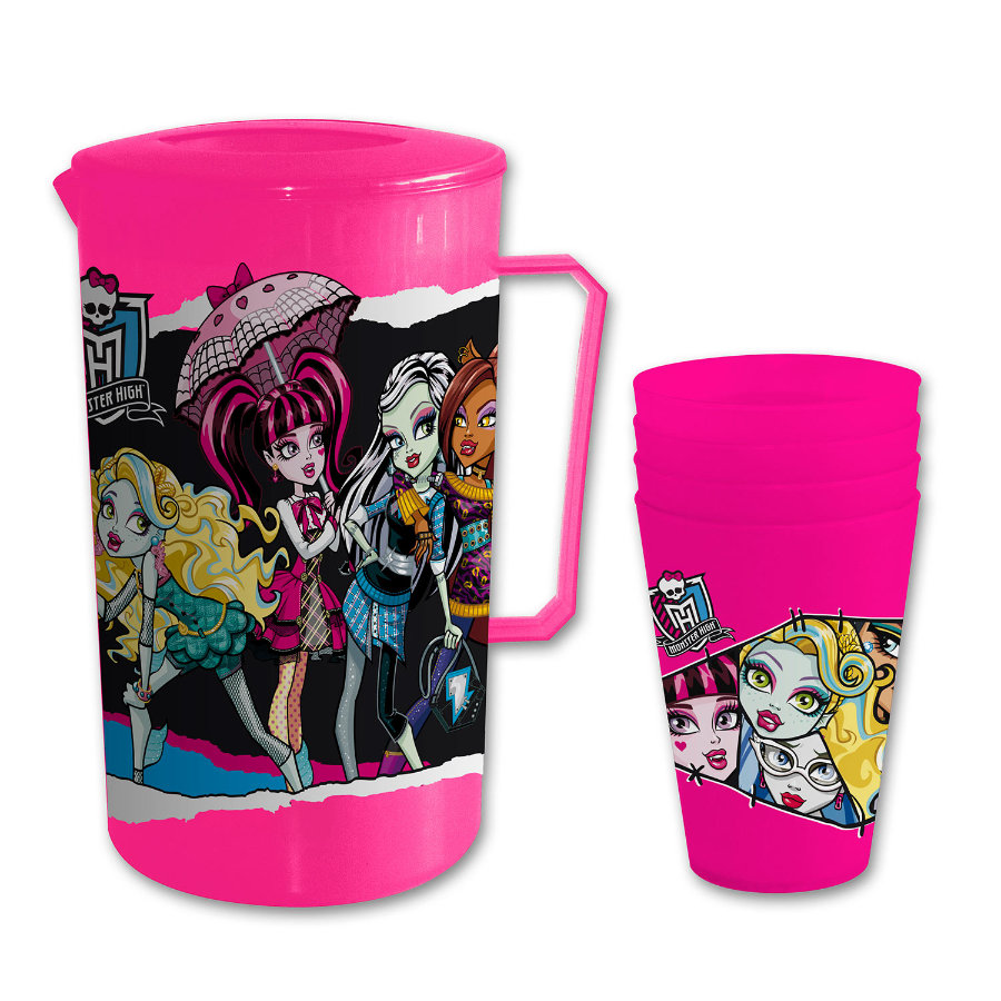 p:os Monster High Saftkrug und 4 Becher