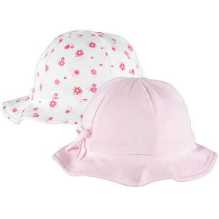 pink or blue Girls Lot de 2 bonnets à attacher, Flowers, motifs, blanc/rose