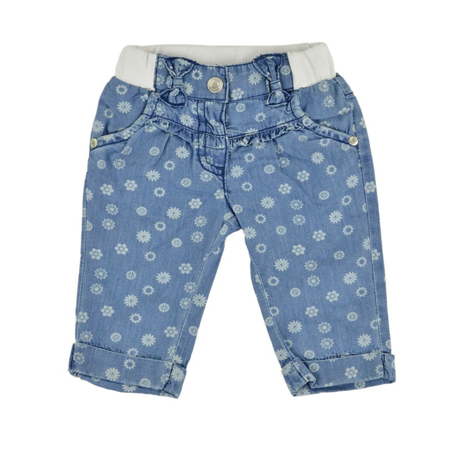 KANZ Girls Mini Spodnie dżinsowe FLOWERS light blue denim