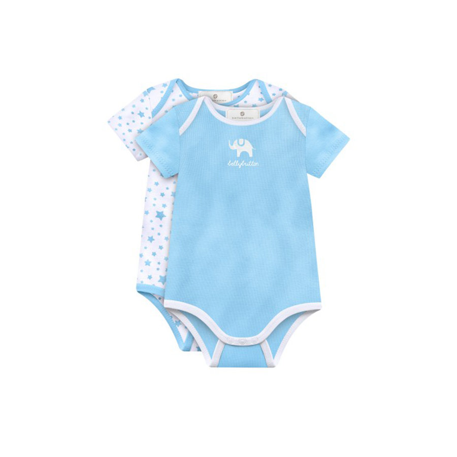 BELLYBUTTON Boys Baby 2er-Set Body 1/4 Arm pale blue