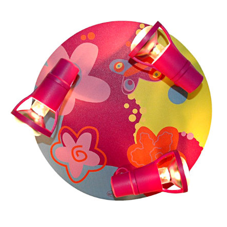 WALDI Plafonnier Bubblefly, rose/bigarré 3 ampoules