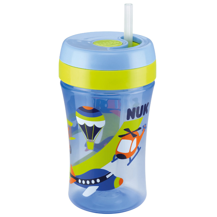 NUK Easy Learning Cup Fun 300 ml, avec paille soft en silicone, bleue