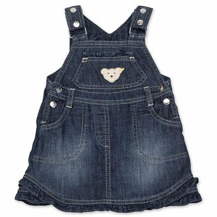 Steiff Girls Jeans-Latzrock dark blue denim