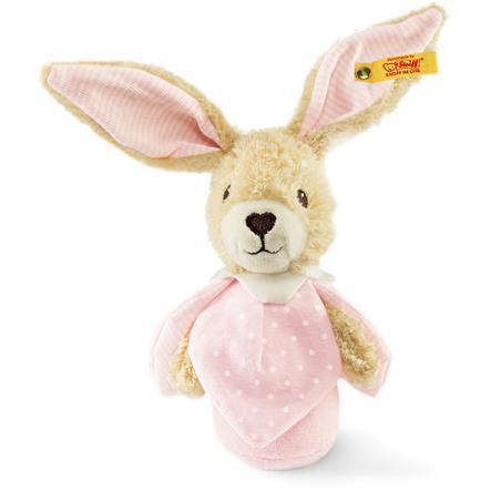 STEIFF Hoppel Rabbit Grip Toy with Rustling Foil 15 cm pink