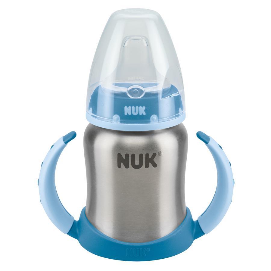 NUK Tazza bevimpara in acciaio Stainless Steel 125ml Beccuccio in silicone Blu