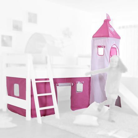 Relita Stoffset für Hochbetten mit Turm rosa / weiß-Herz