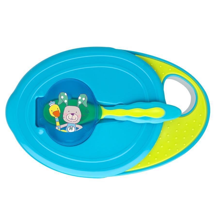 Rotho Babydesign Esslernschale mit Deckel und Löffel aquamarine / applegreen