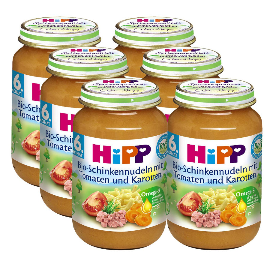 HIPP Bio Pasta and Ham with Tomatoes and Carrots 6 x 190g