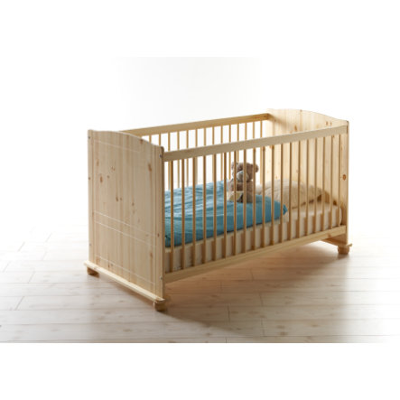 TiCAA Baby-Gitterbett Adam Kiefer massiv Natur