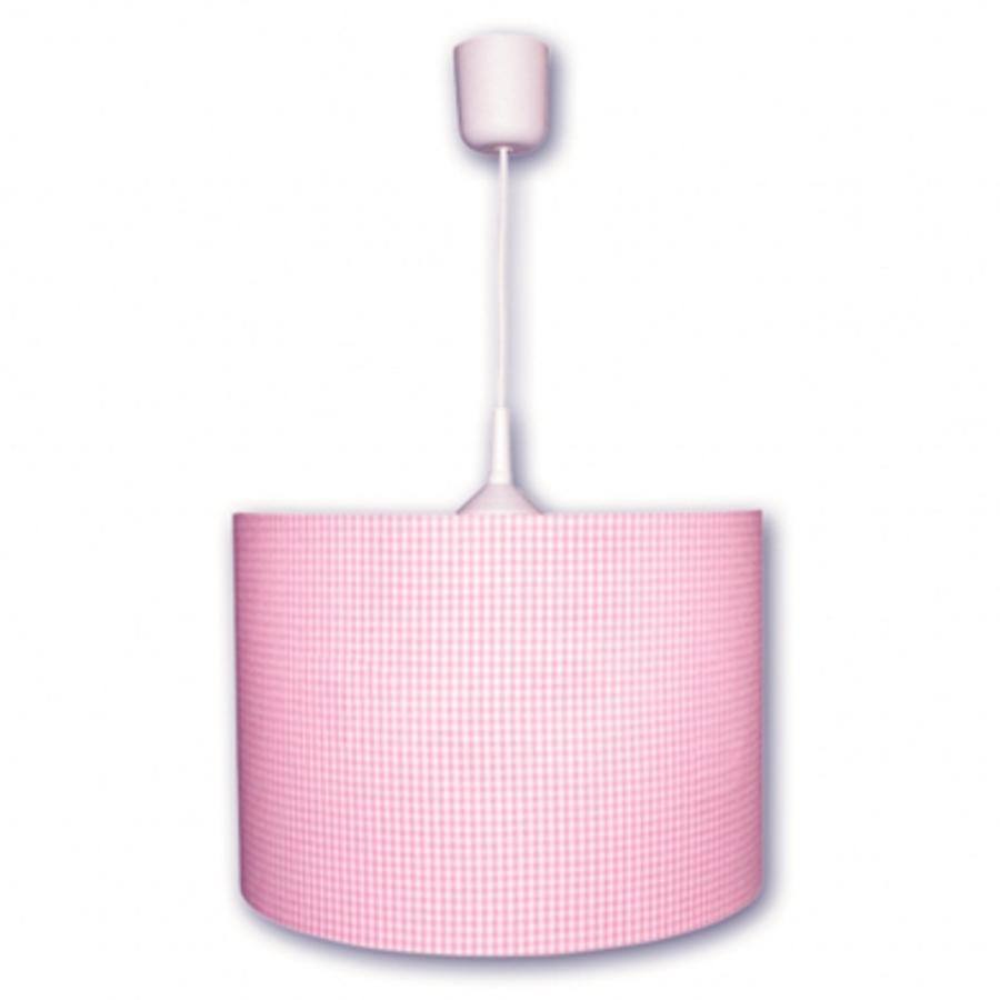 WALDI Pendelleuchte Vichy Karo, pink 1-flg.