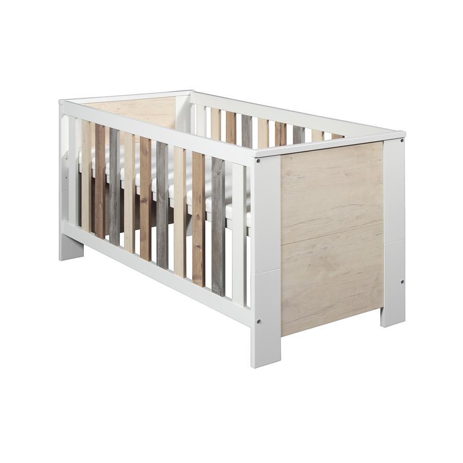 Schardt Lit bébé évolutif Woody 70x140 cm blanc/naturel