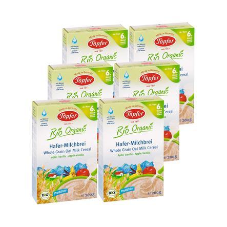 TÖPFER Bio Hafer Milchbrei mit Apfel und Vanille 6 x 200g