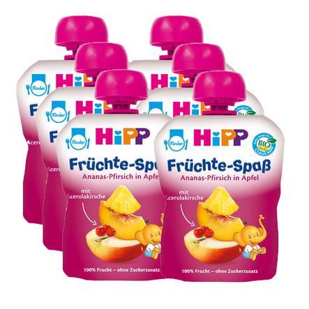 HiPP Bio Früchte-Spaß Ananas-Pfirsich in Apfel 6 x 90 g