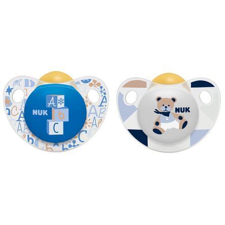 NUK Beruhigungssauger Trendline Latex blau/weiß Gr. 3 18-36 Monate