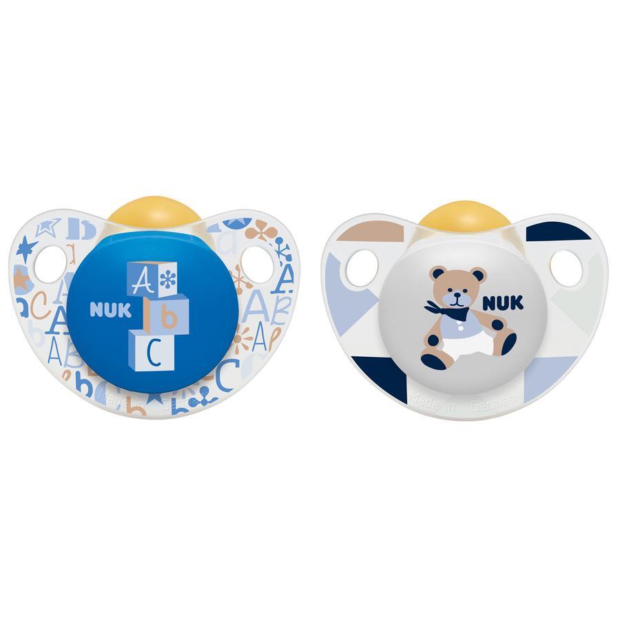 NUK Sucettes Trendline, latex, T. 3, 18-36 M, bleu/blanc
