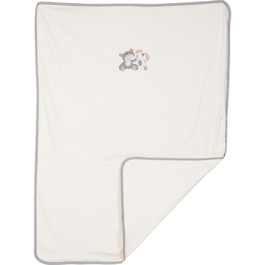 FILLIKID Jersey, dětská deka, medvěd a pejsek, šedá, exkluzivně pro Pink or Blue