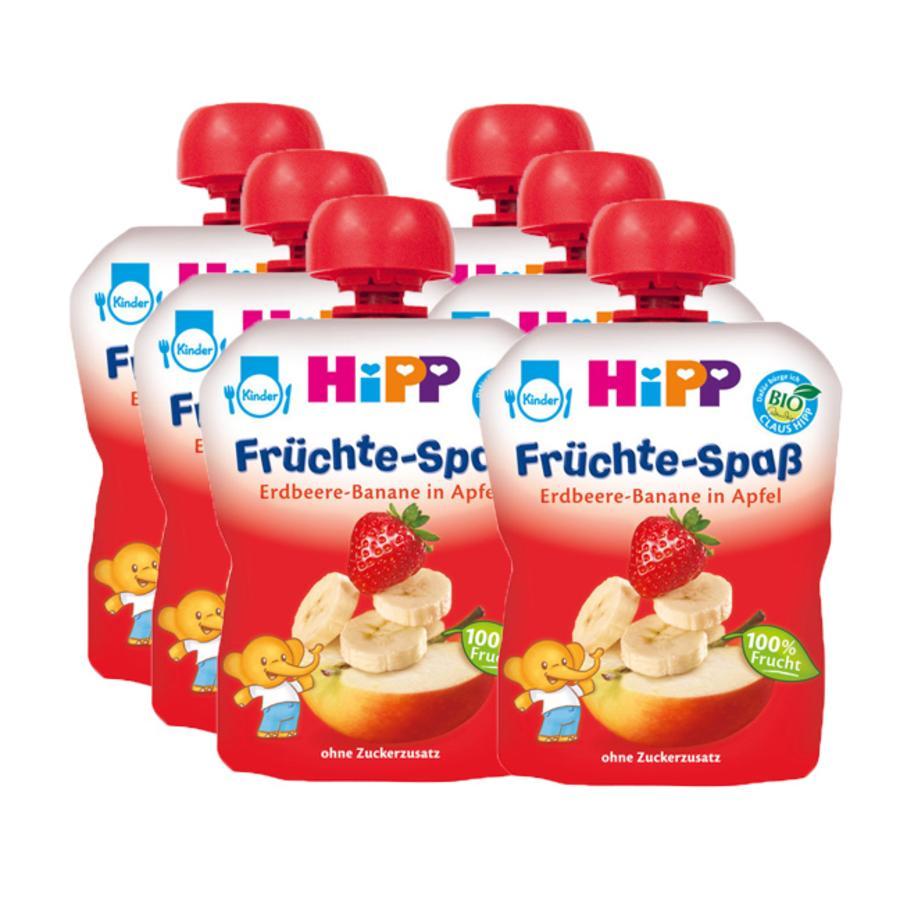 HIPP Bio Früchte-Spaß Erdbeere-Banane in Apfel 6 x 90g