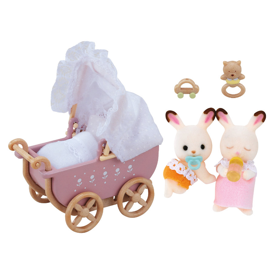 SYLVANIAN FAMILIES Figure and Furniture Set - Chocolate Rabbit Twins Set