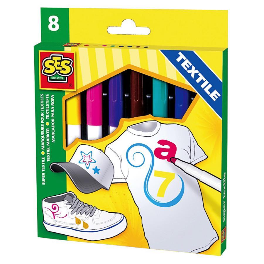 SES Creative Textielstiften maxi, 8 kleuren