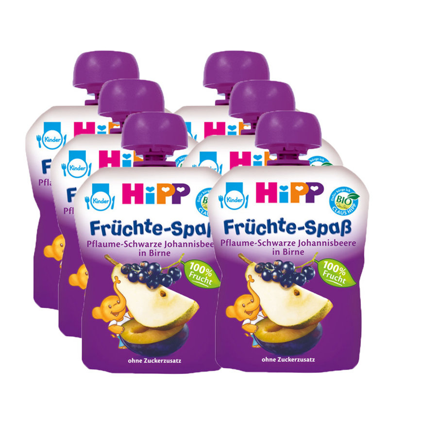 HIPP Bio Früchte-Spaß Pflaume-Schwarze Johannisbeere in Birne 6 x 90g