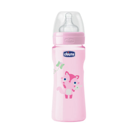 CHICCO Butelka do karmienia Wohlbefinden Colored 250ml 4m+ Girl silikonowy smoczek