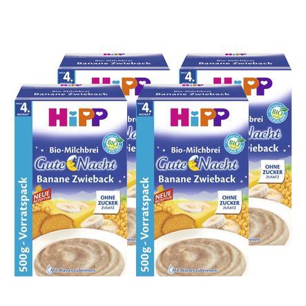 HiPP Bio Milk Mash Good Night Mash Banana Rusk with Whole Grain Flakes 4 x 500g