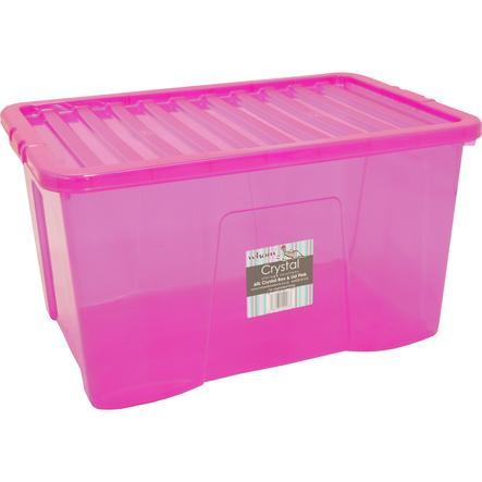 WHAM Crystal 60L Förvaringslåda med lock, rosa