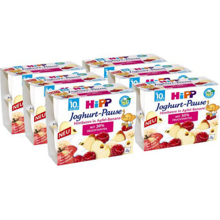 HiPP Bio Yoghurt Raspberry, Apple and Banana 6 pcs. (4x100g)