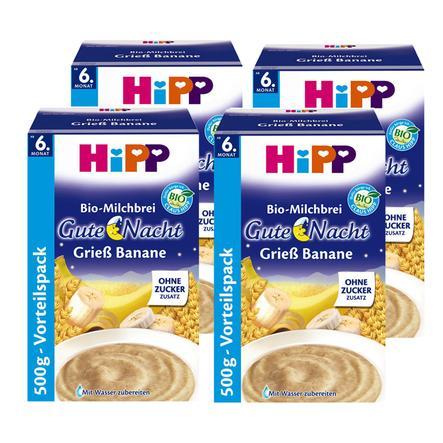 HiPP Bio-Milchbrei Gute Nacht Grieß Banane 4 x 500 g ab dem 6. Monat
