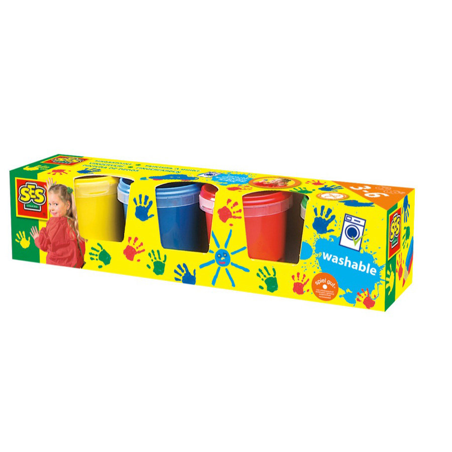 SES Creative Fingerfarver, 4 x 150ml