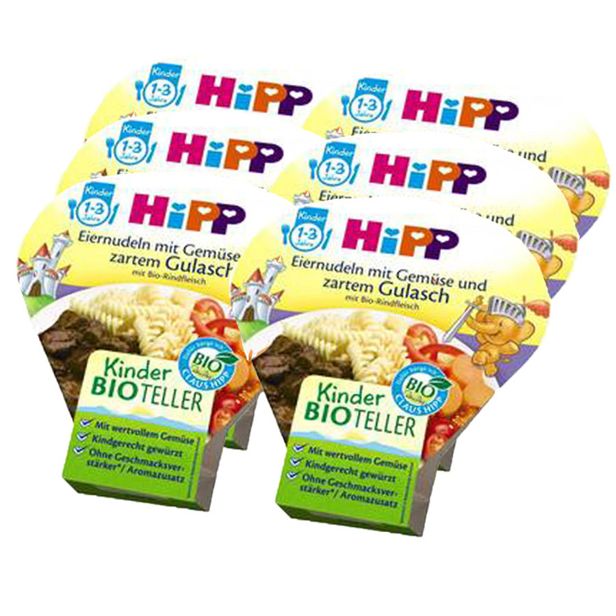 HiPP Bio Eiernudeln mit Gemüse und zartem Gulasch 6 x 250 g