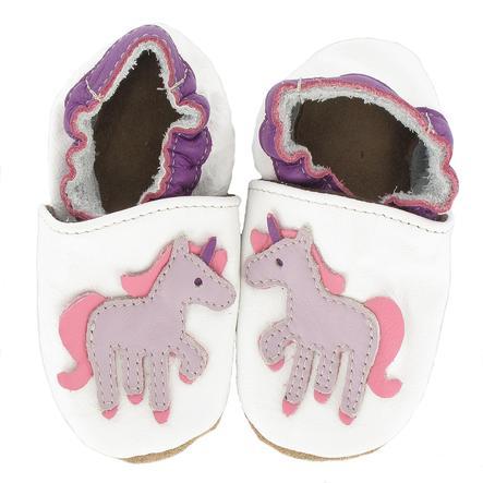 BaBice Kojenecké boty jednorožec bílé