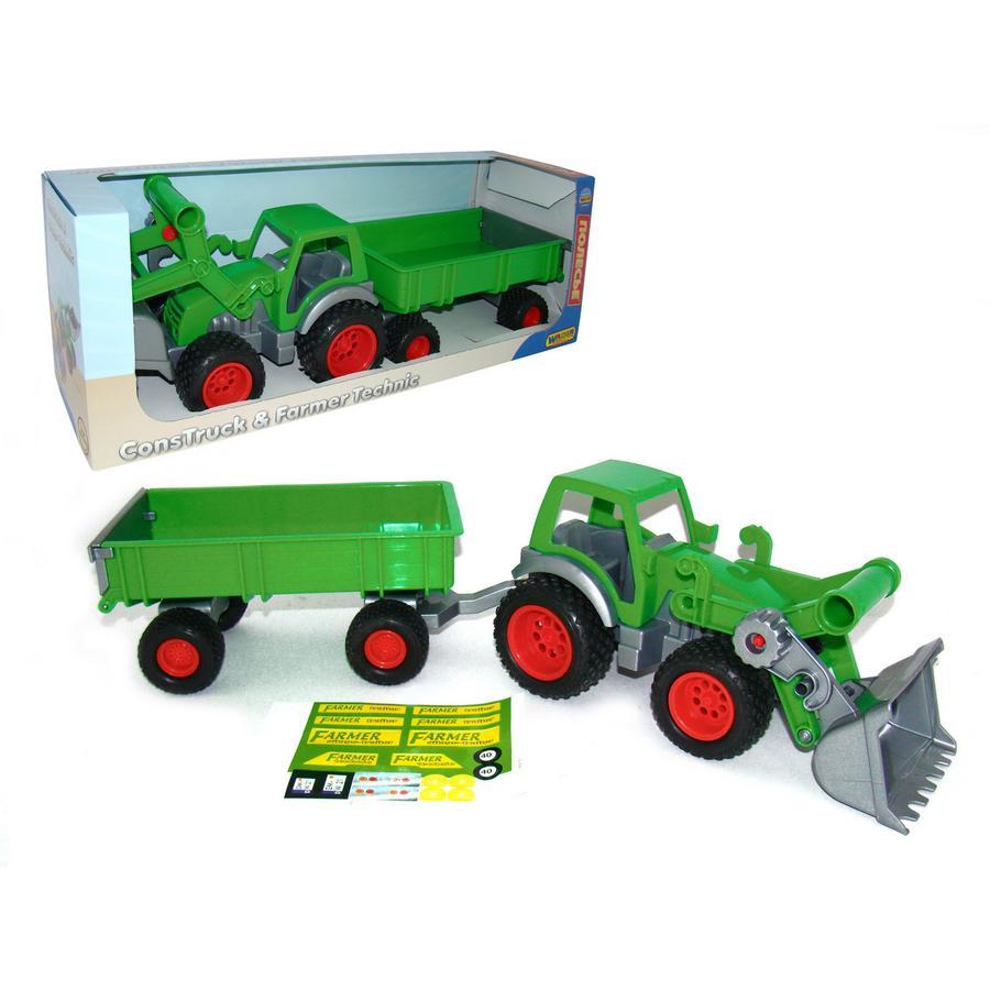 WADER Farmer Technic - Traktor met shovel en 2-as-aanhanger