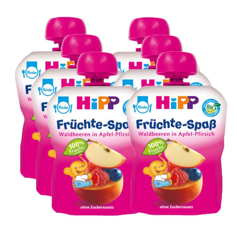 HiPP Bio Früchte-Spaß Waldbeeren in Apfel-Pfirsich 6 x 90 g