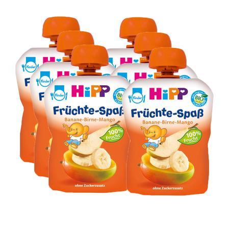 HiPP Bio Früchte-Spaß Banane-Birne-Mango 6 x 90 g