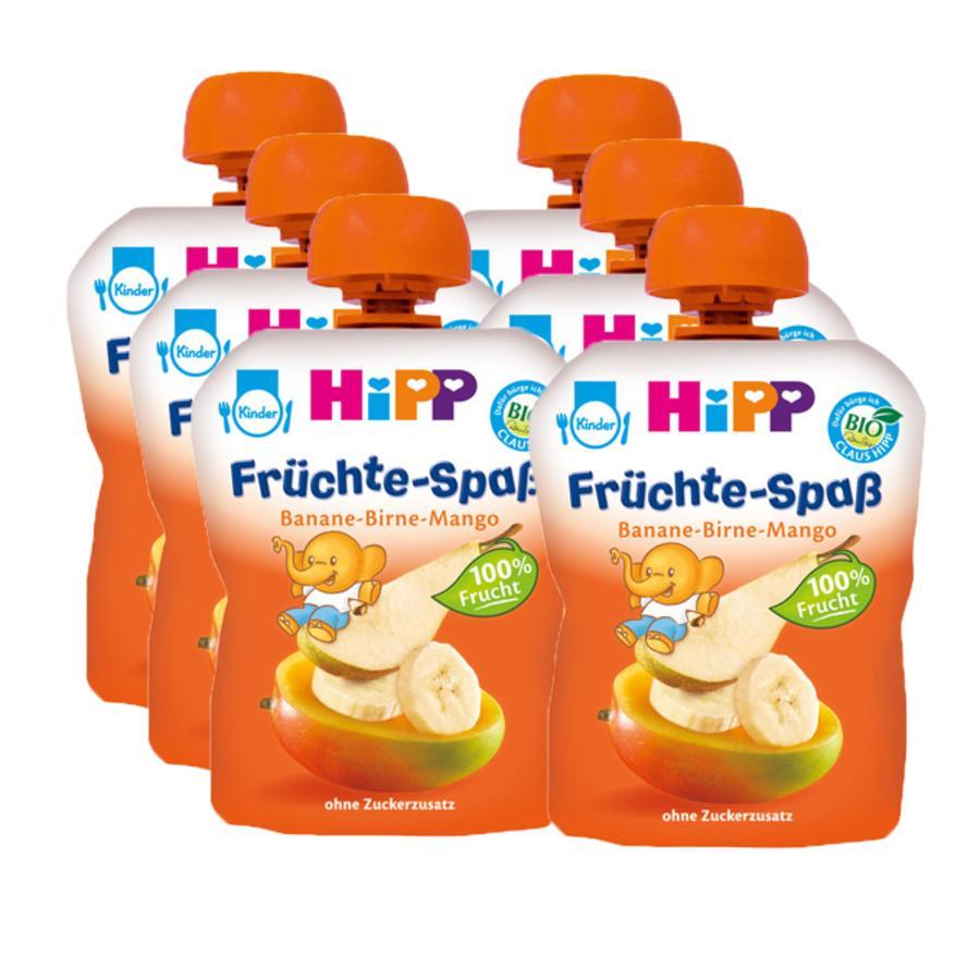 HIPP Bio Früchte-Spaß Banane-Birne-Mango 6 x 90g