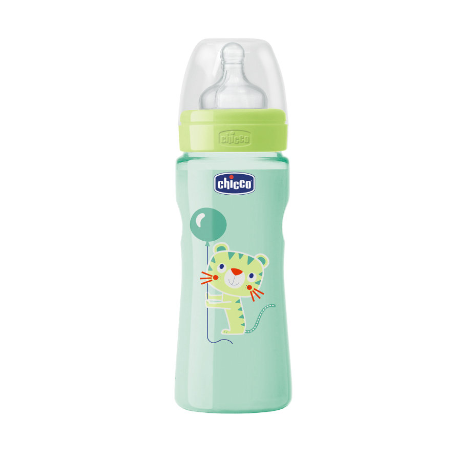CHICCO Welzijn babyflesje Colored 250ml 4m+ siliconen Neutraal