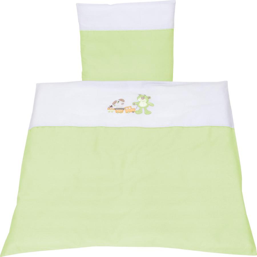 FILLIKID Set lenzuola culla Orso e Cane verde Exklusiv per Pink or Blue