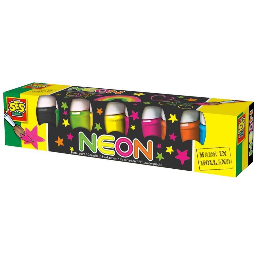 SES Creative Plakatfarbe Neon, 6 Farben je 50ml